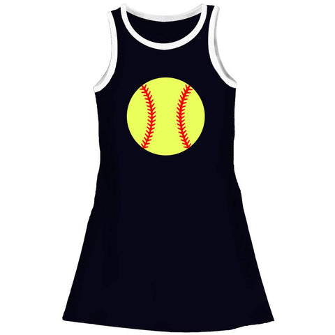 Softball Tank Dress Black White Trim