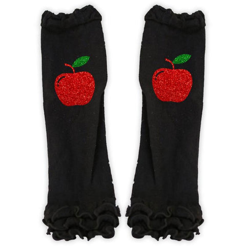 Sparkle Apple Black Ruffle Leg Warmers