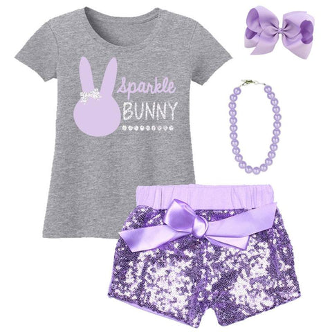 Sparkle Bunny Outfit Silver Lavender Sequin Top And Skirt
