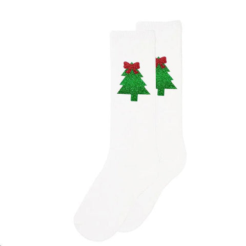Sparkle Christmas Tree Long Socks