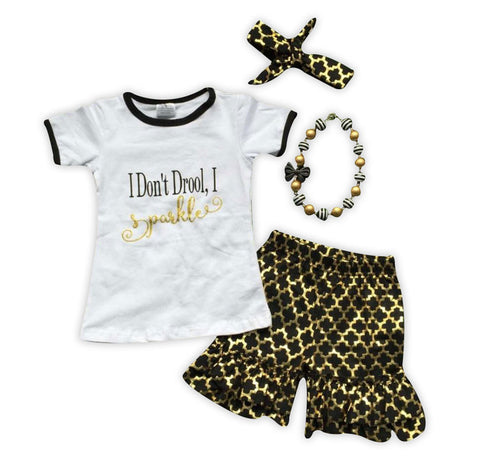 Sparkle Gold Black Moroccan Shorts Set