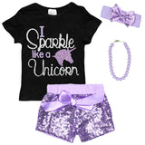 Sparkle Like A Unicorn Shirt Black Silver Purple