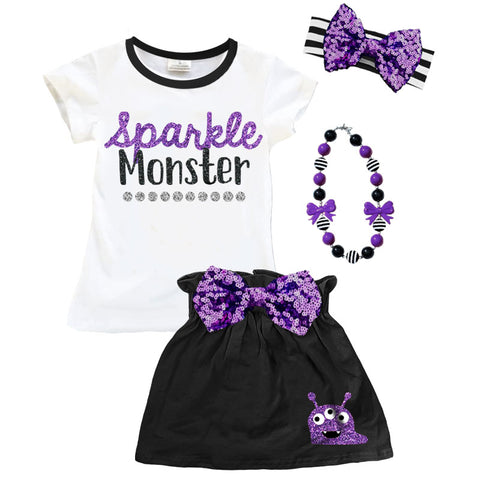 Sparkle Monster Purple Sequin Top And Skirt