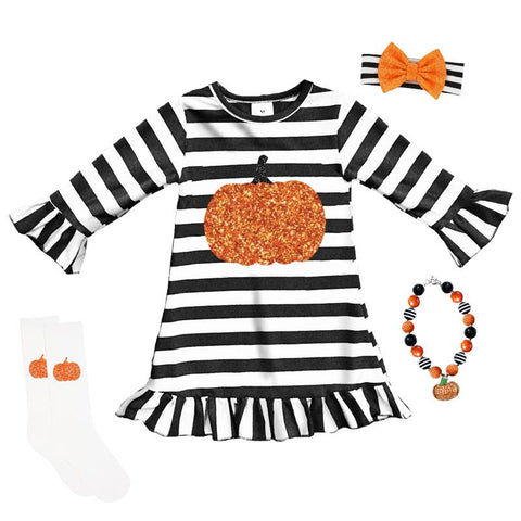 Sparkle Pumpkin Dress Black Stripe Ruffle