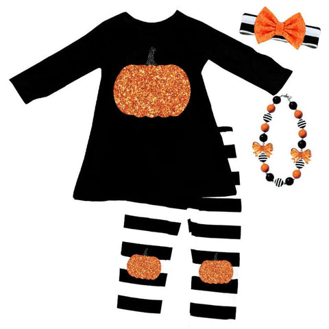 Sparkle Pumpkin Outfit Black Stripe Top And Capri