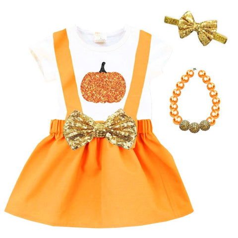 Sparkle Pumpkin Outfit Orange Gold Top And Jumper