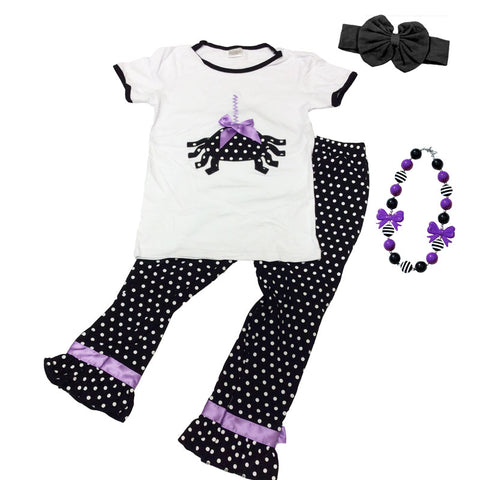 Spider Polka Dot Outfit Girls Black Purple Bow