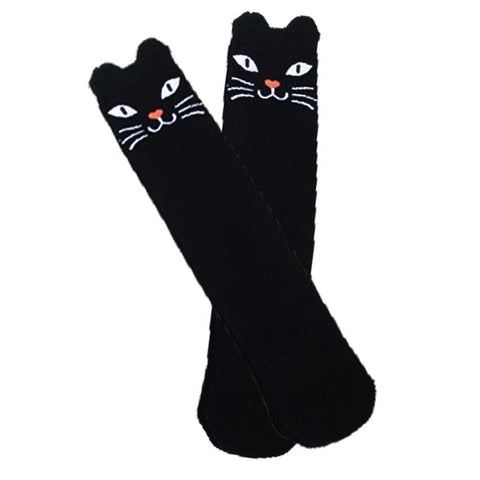 Spooky Black Cat Socks Knee High