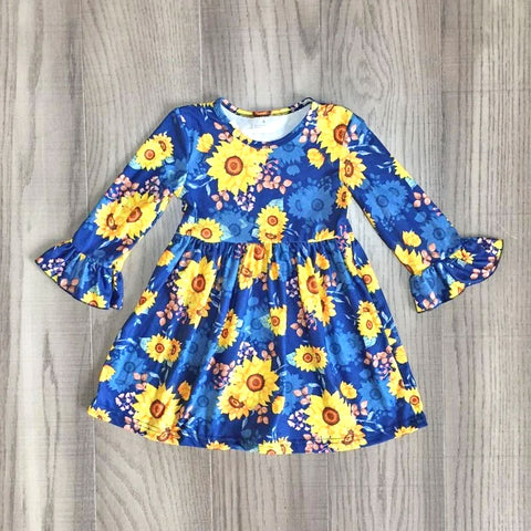 Spring Blue Sunflower Floral Dress