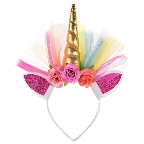 Spring Rainbow Flower Gold Unicorn Tulle Headband