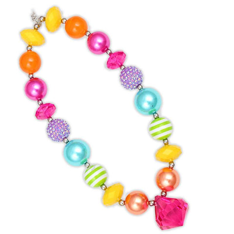 Spring Rainbow Necklace Pink Diamond Chunky Gumball