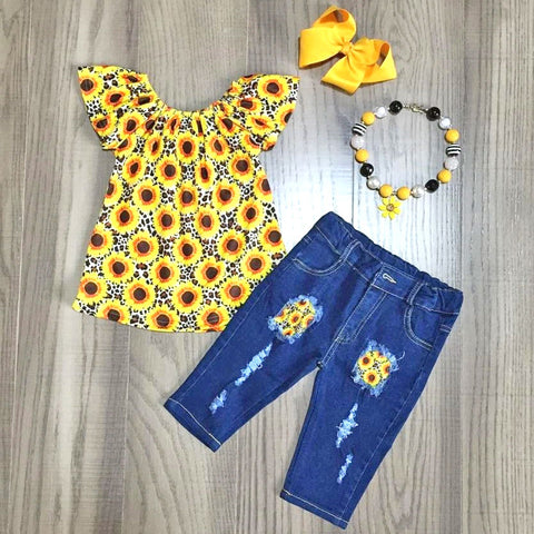 Spring Sunflower Mod Floral Top Jeans Necklace And Bow Set