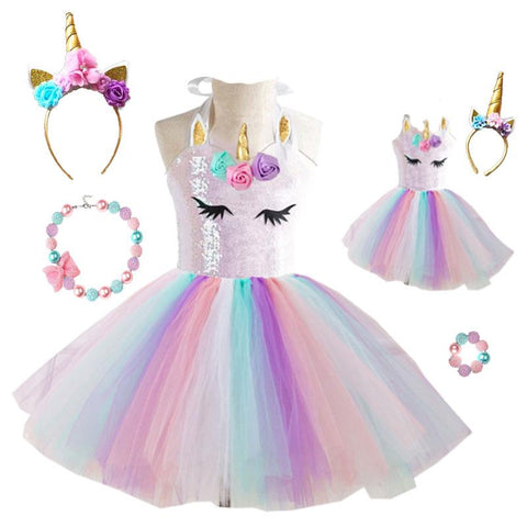 Spring Unicorn Tutu Dress Sequin Flowers Doll And Me