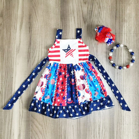 Stars And Stripes Navy Red Patchwork Dress Necklace And Hair Bow Set