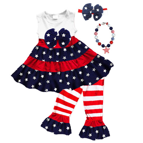 Stars And Stripes Ruffle Bow Top And Capri