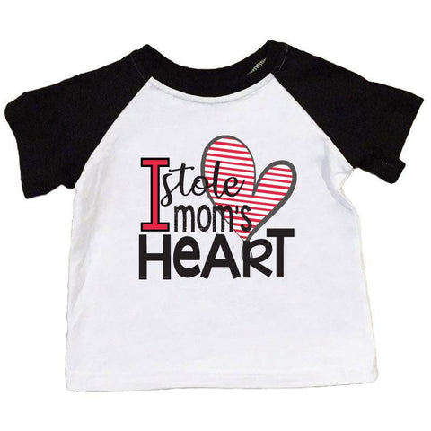 Stole Moms Heart Shirt Black Raglan Boy