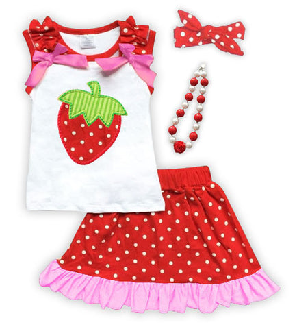 Strawberry Polka Pink Ruffle Skirt Set