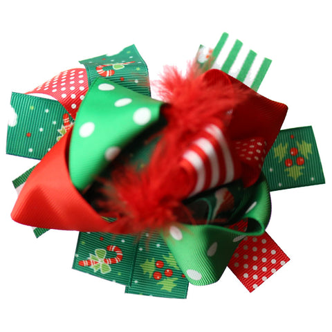 Stripe Candy Cane Hair Bow Green Red Feather Polka Dot