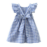 Summer Blue Plaid Dress Bow Tie Back
