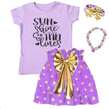 Sun Shine And Tan Lines Outfit Purple Gold Top And Skirt