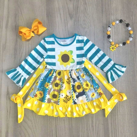 Sunflower Blue Stripe Yellow Polka Dot Twirl Dress Necklace And Bow Set