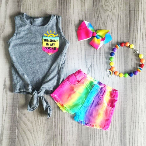 Sunshine In My Pocket Rainbow Tie Dye Gray Top Denim Shorts Necklace And Hair Bow Set