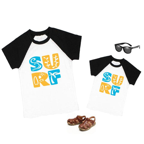 Surf Palm Tree Shirt Black Raglan Daddy And Me