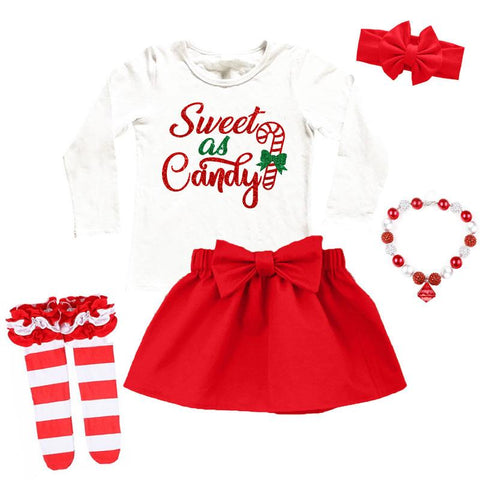 Sweet As Candy Outfit Cane Red Top And Skirt