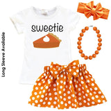 Sweetie Pie Outfit Pumpkin Orange Polka Dot Top And Skirt