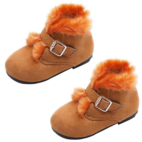 Tan Orange Fur Boots Buckle Shoes