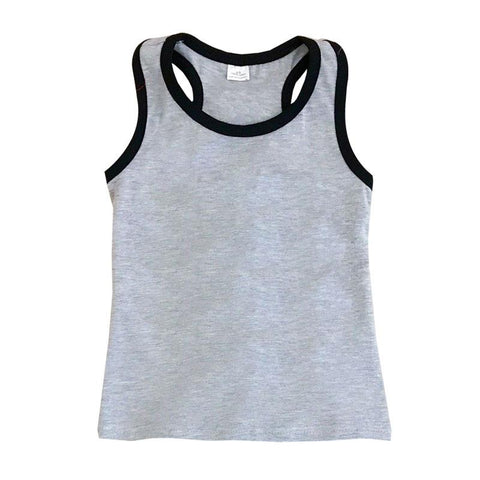 Tank Top Black Trim Gray Mommy Me