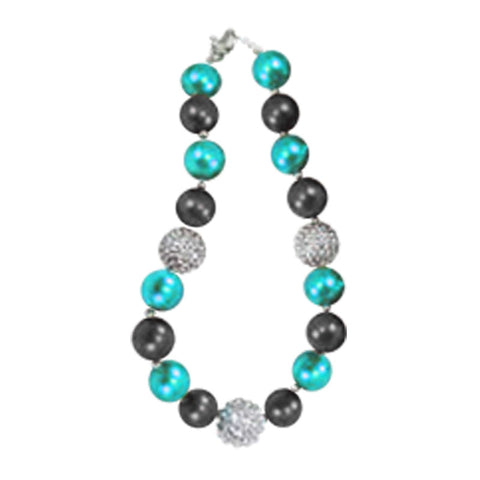Teal Black Necklace Silver Sparkle