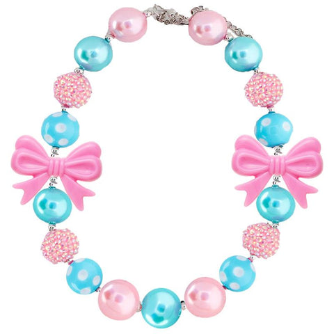 Teal Blue Necklace Pink Bow Gumball Chunky