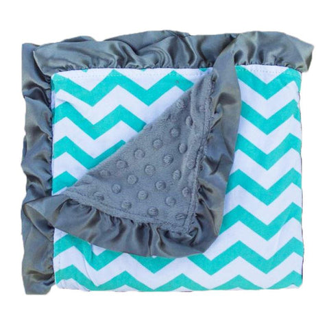 Teal Chevron Gray Minky Blanket