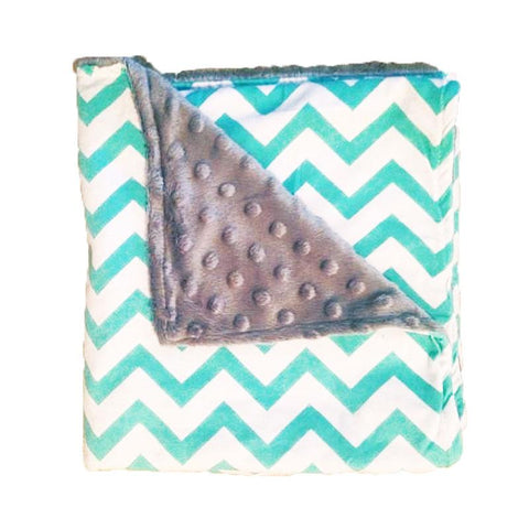 Teal Chevron Gray No Ruffle Minky Blanket