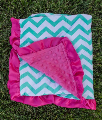 Teal Chevron Hot Pink Minky Blanket