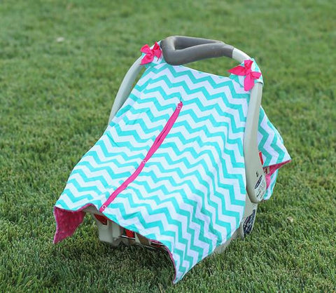 Teal Chevron Hot Pink Minky Car Seat Canopy