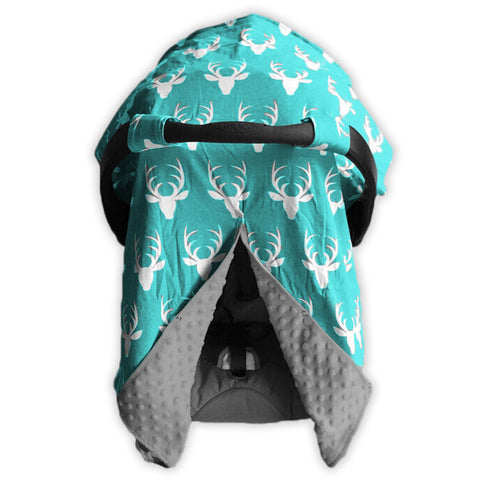Teal Deer Gray Minky Car Seat Canopy