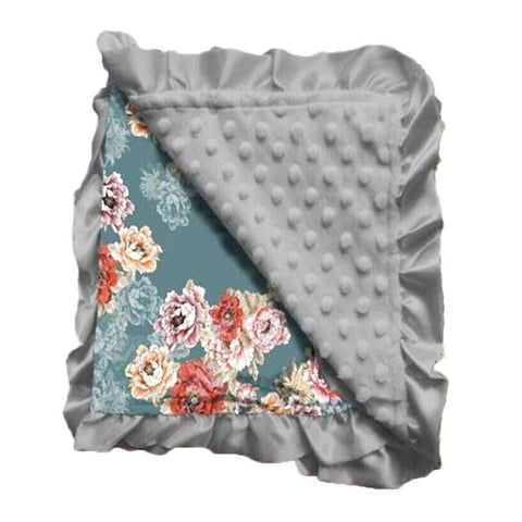 Teal Fall Floral Gray Minky Blanket