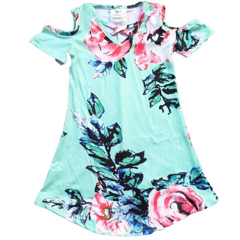 Teal Floral Dress Vintage Off Shoulder