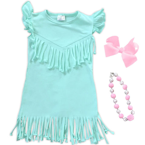 Teal Fringe Spring Dress