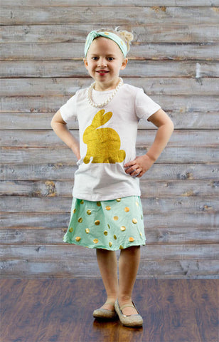 Teal Gold Polka Bunny Skirt Set