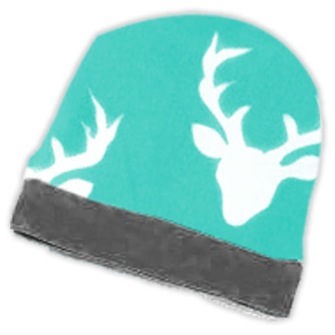 Teal Gray Deer Beenie Hat