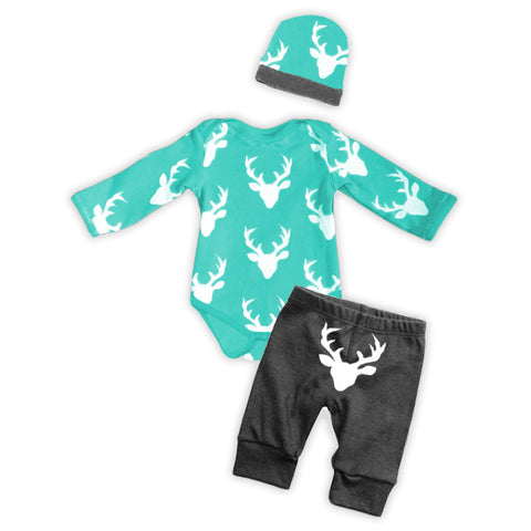 Teal Gray Deer Boy Onesie Pant Set