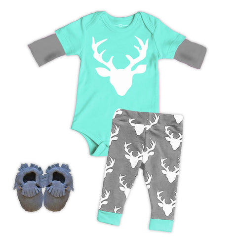 Teal Gray White Deer Onesie And Pants