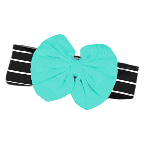 Teal Headband Black Stripe Messy Bow