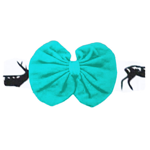 Teal Headband Deer Messy Bow Black