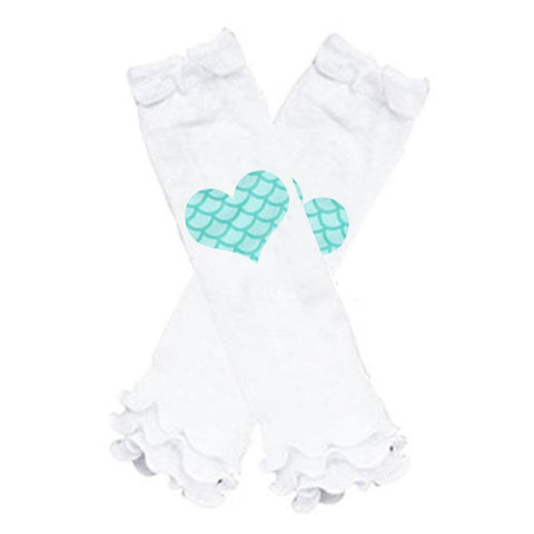 Teal Mermaid Heart Leg Warmers Scales White Ruffle