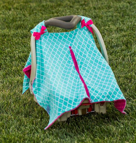 Teal Moroccan Hot Pink Minky Car Seat Canopy