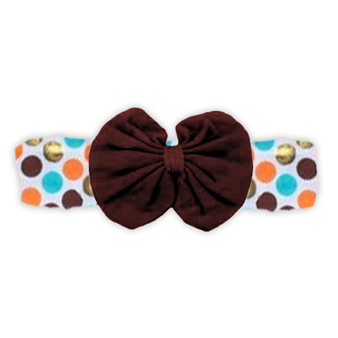 Teal Orange Brown Messy Bow Headband